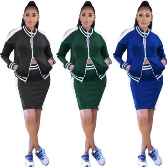 Piece Dress Fashion Casual Ribbon Panelled Long Sleeve Striped Two Piece Sets Women Clothing 20ss Women Two