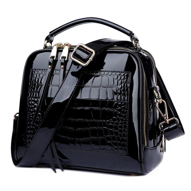 Designer-Handtaschen, Krokodil Damen Lackleder Handtasche Schultertasche Weibliche Umhängetasche Tote Frauen Messenger Bags