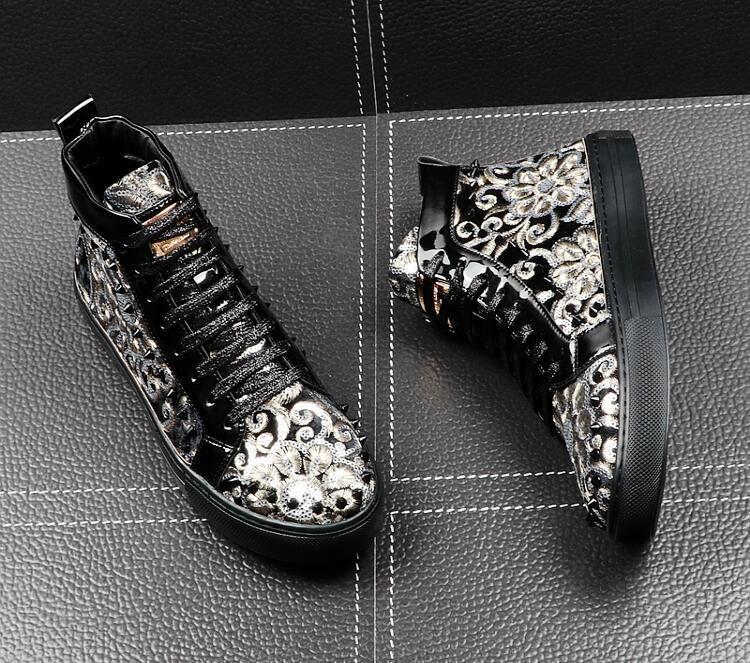 Италия новый мужской дизайнер национальность заклепки блестка повседневные квартиры высокие топы обувь человек панк-рок досуг ccasins мокасины обувь EUR38-43 c14 02