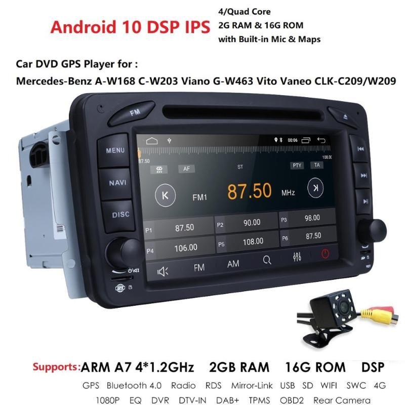 Baccano 2 7 pollici auto lettore DVD radio Per CLK W209 W203 W208 W463 Android 10 IPS DSP 2GB + 16 GB con Wi-Fi RDS Cam posteriore dvd