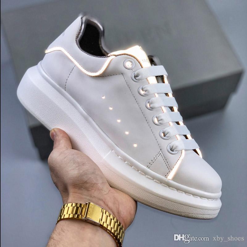 Avec la boîte noire Hommes Femmes Chaussures Chaussures Belle Plateforme Baskets Décontractées Luxe Designers Chaussures 3M Cuir Couleurs Solides Chaussures Habillées