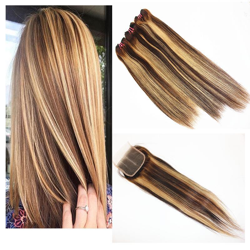 C مستقيم الشعر حزم مع ال 4x4 الشعر إغلاق مزج اللون البرازيلي 100٪ العذراء ريمي الشعر ملحقات الإنسان اللون 1B / 27 8 -28 بوصة