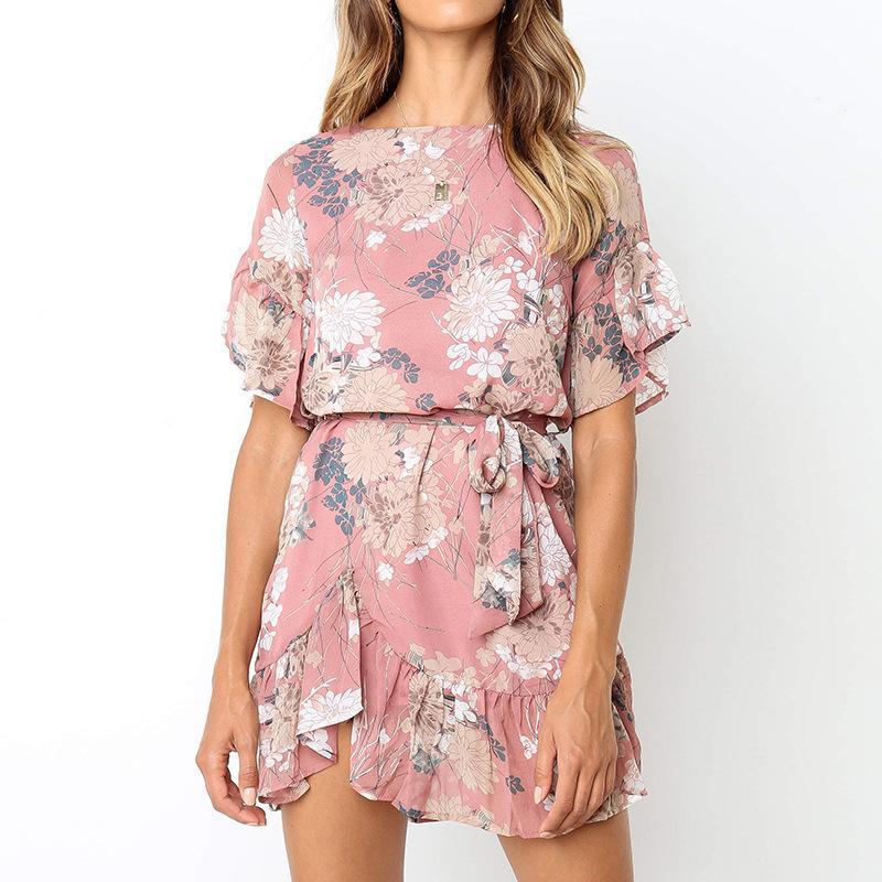 Verão floral impressão rosa dress sexy manga curta slash neck praia dress casual flare manga mulheres vestidos dress vestidos feminino feminino