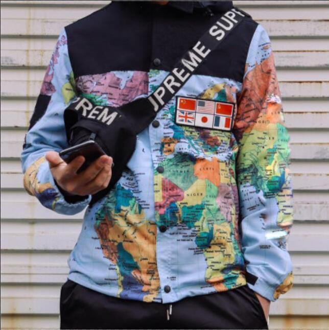 14ss BOX LOGO Herren-Jacken-Mantel Letters Flag Printed Karte Reflektierende Designer Jacken mit Kapuze Luxus Noctilucent Outdoor Wear Größe M-XXL