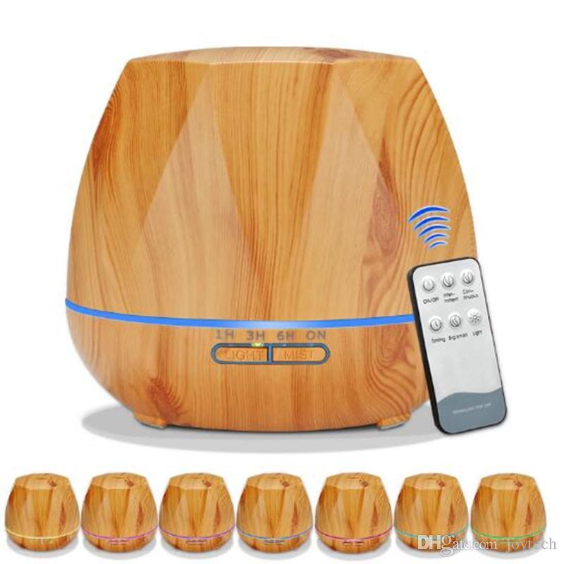 550ml Aroma Huile Essentielle Diffuseur d'air ultrasonique Humidificateur Purificateur forme de grain de bois RGB 7colors LED à couleurs changeantes pour la maison de bureau