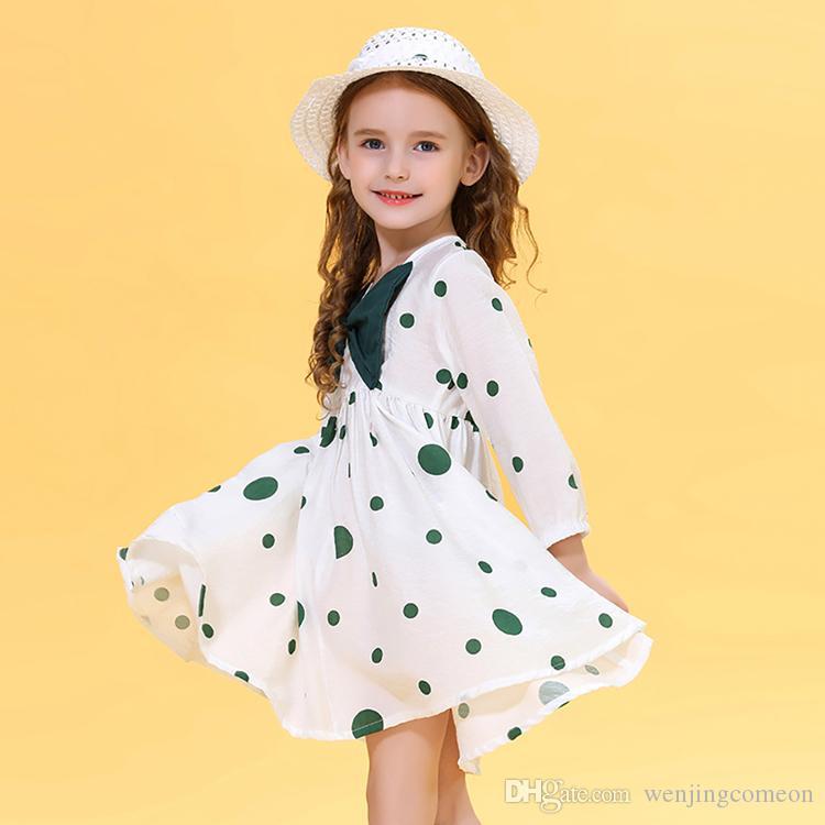 Mignon Enfants Enfants Bébés filles Stylistes Robes enfant Imprimé Bow Robe à pois + Pare-soleil Chapeau Summer Infant Vêtements Vêtements