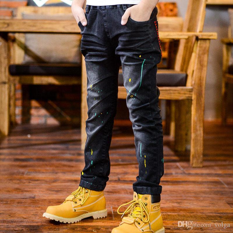بنين سليم مستقيم سروال جينز عادية بنطلون أطفال الأطفال الجينز موضة طويل الطفل مطاطا الخصر سروال