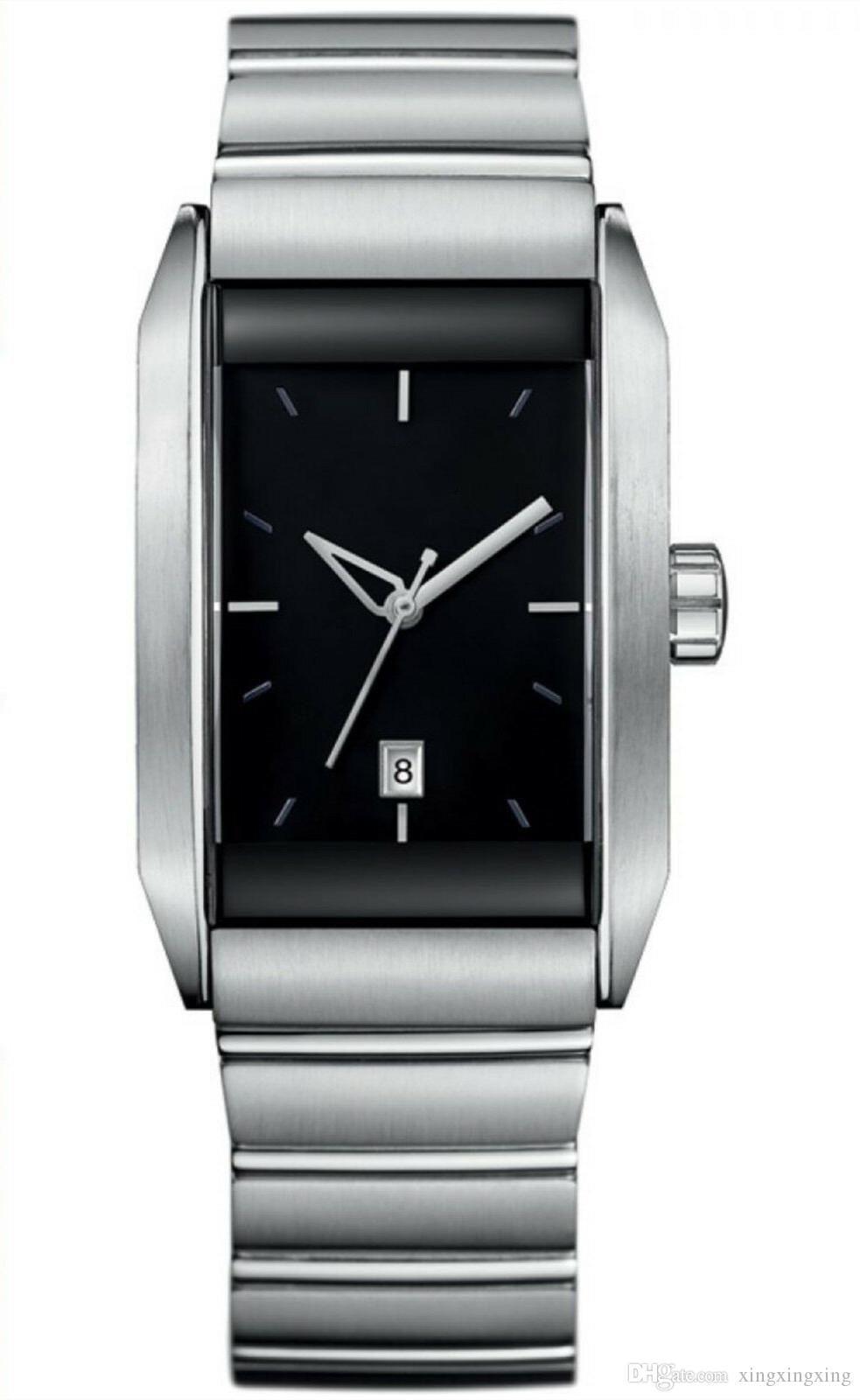 Mode 1512479 Männer Rechteck-Schwarz-Edelstahl-Bügel-Armbanduhr Dial