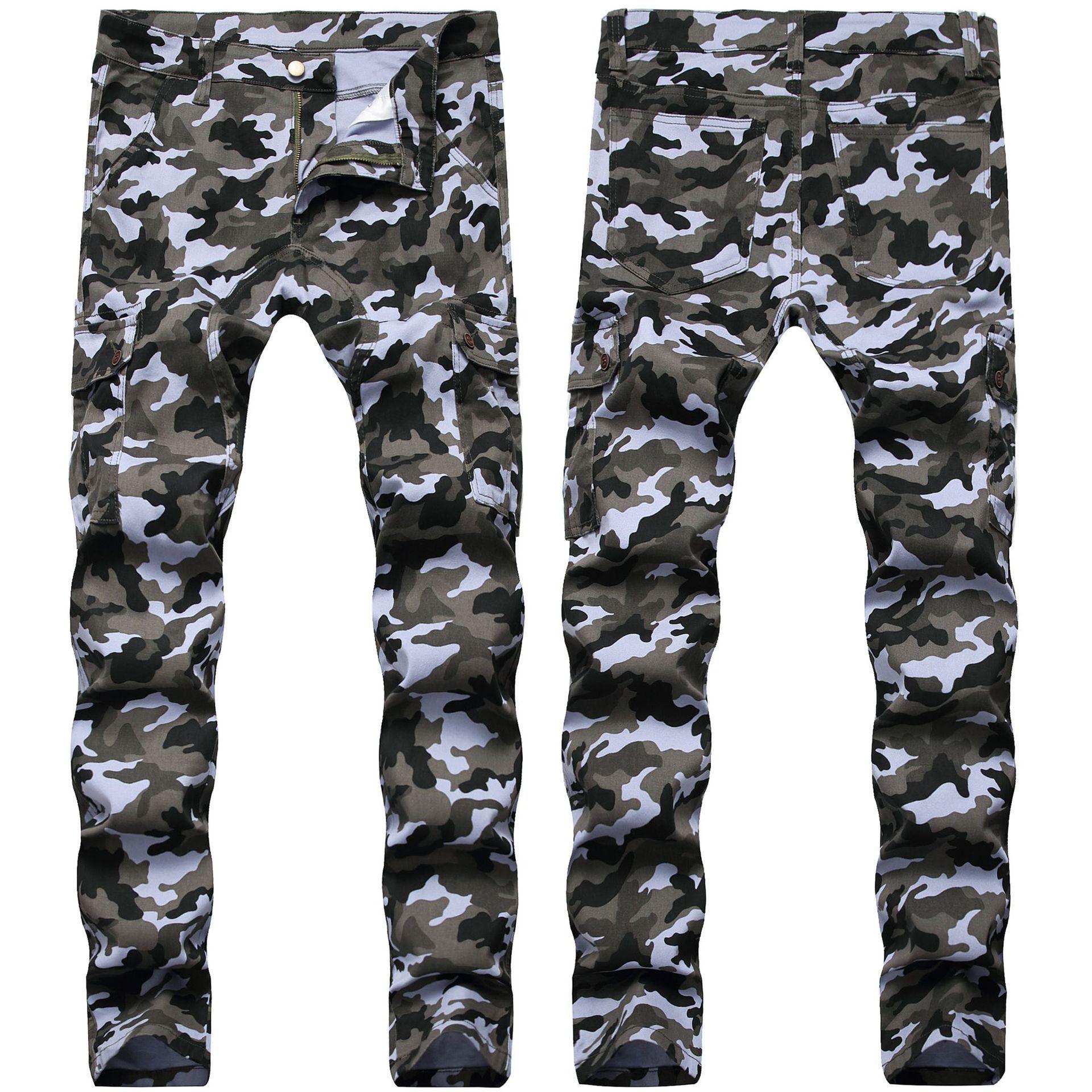 Erkekler Kamuflaj Jeans İnce Cepler Erkeklerde Casual Kargo Pantolon Streetwear Skinny Demin Pantolon takılması