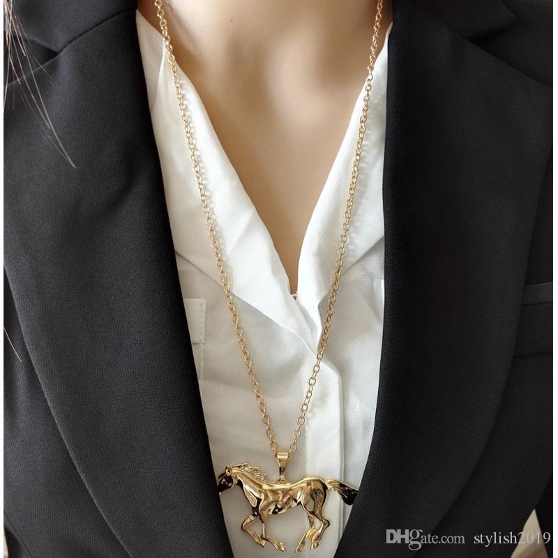 Hot nouvelle mode Bijoux Cheval collier pendentif pour les femmes Argent Femme plaqué or fille maman cadeau WCW139