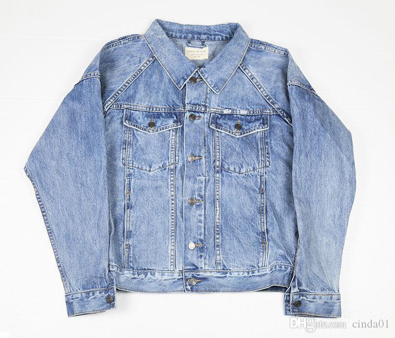 FOG Mens Jackets Vintage Blue Denim Cowboy Shirts Male Female Winter Jacket Casual Coat
