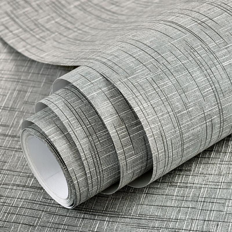 Gruesa autoadhesivo de lino gris del papel pintado de color sólido para el fondo de la sala Tv pared impermeable compartida Vliny etiqueta