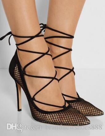 Neueste Qualität Schuhe Heißer Verkauf Mode Günstigen Preis Knöchel Neue Ankunft Sexy Punkt Toe Kleid Schuhe Lace-up Große Größe 10 ausschnitt