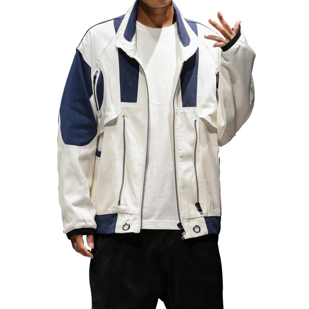 Yeni Marka erkek Ceketleri Standı Yaka Rüzgarlık Erkek Çoklu fermuar Beyzbol Ceket Yüksek Kaliteli Gevşek Ceket Kaban Büyük Boy