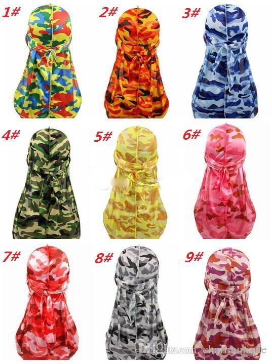 Drucken Mode Camouflage Herren Durags Turban Bandanas Stitching Außen Männer Durag Kopfbedeckung Stirnband Piraten-Hut-Haar-Zusätze