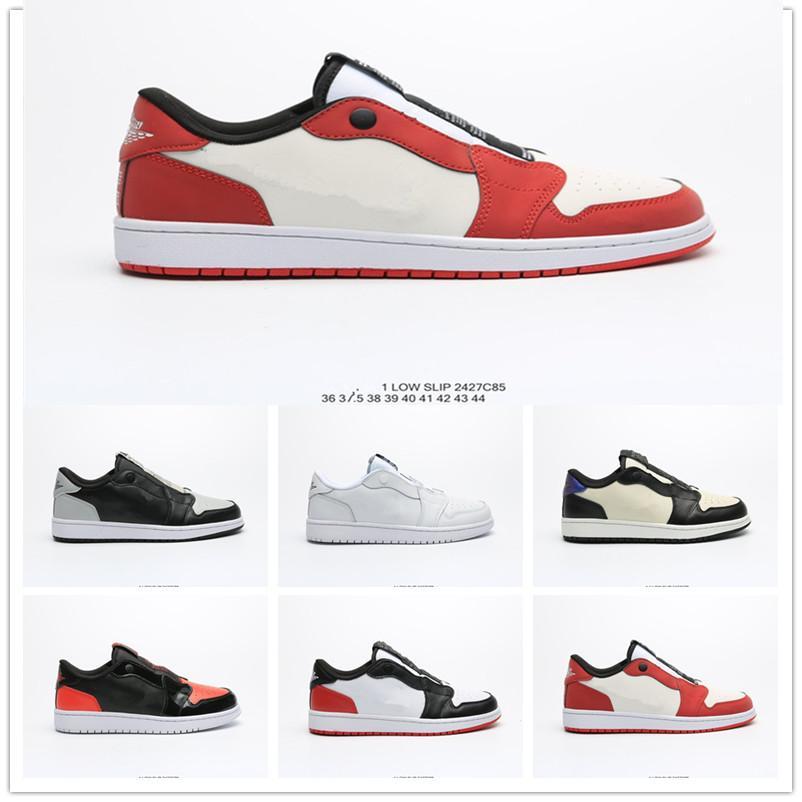 Zapatos nueva Jumpman 1 bajo deslizamiento 3M baloncesto de los deportes para los hombres Las mujeres blancas negras rojo al aire libre para hombre de las zapatillas de deporte Calzado deportivo Entrenadores EUR 36-44