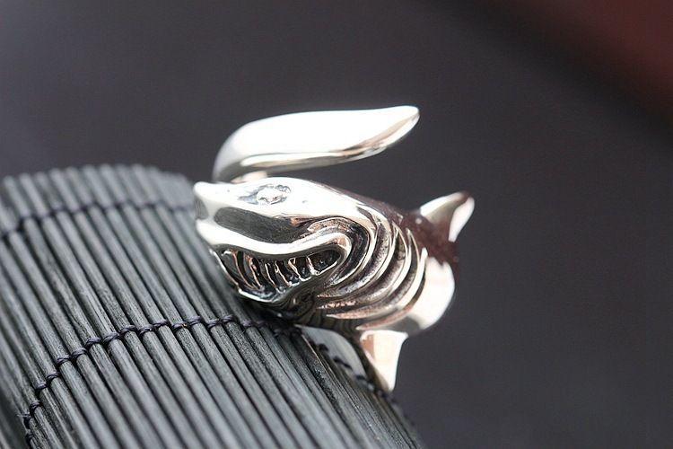 Новый стиль акула кольцо Punk для женщин мужчин хипа-хоп ювелирных изделия серебряного цвета животных Девушки партии кольцо Bague Femme Bijoux Dropshipping