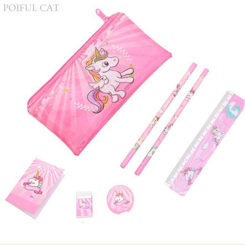 caixa de lápis unicórnio dos desenhos animados para meninas saco caneta conjunto de papelaria bonito com régua de borracha suprimentos dom Crianças Escritório Escola Zakka