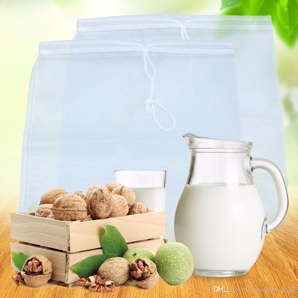 Reusable Food Fruit Filter Bag Nut Milk Bag Squeeze Juice Mesh Filter Sieve  I