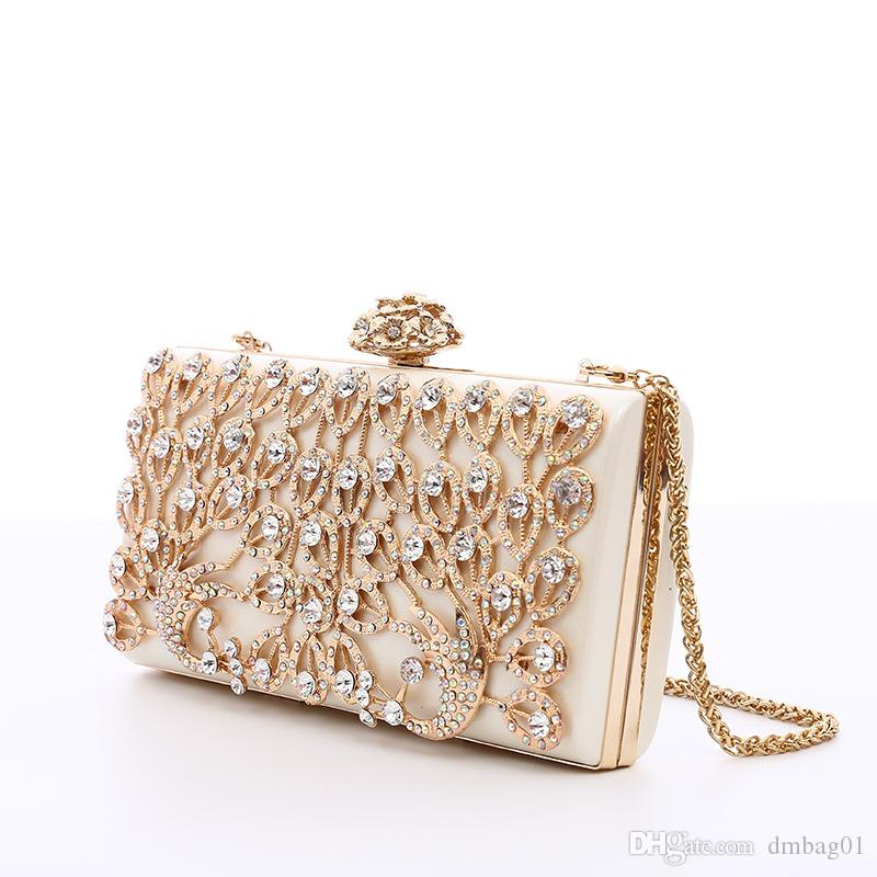 Pink sugao crystal Luxury evening bag Bling party purse diamond Boutique Gold silver women wedding Day clutch bag shoulder fashion handbag