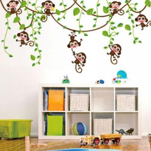 Removable Vinyl Monkey Bedroom Wall Sticker Decals Mural Jungle Nursery Monkey Kid Room Decoartion Home Decor