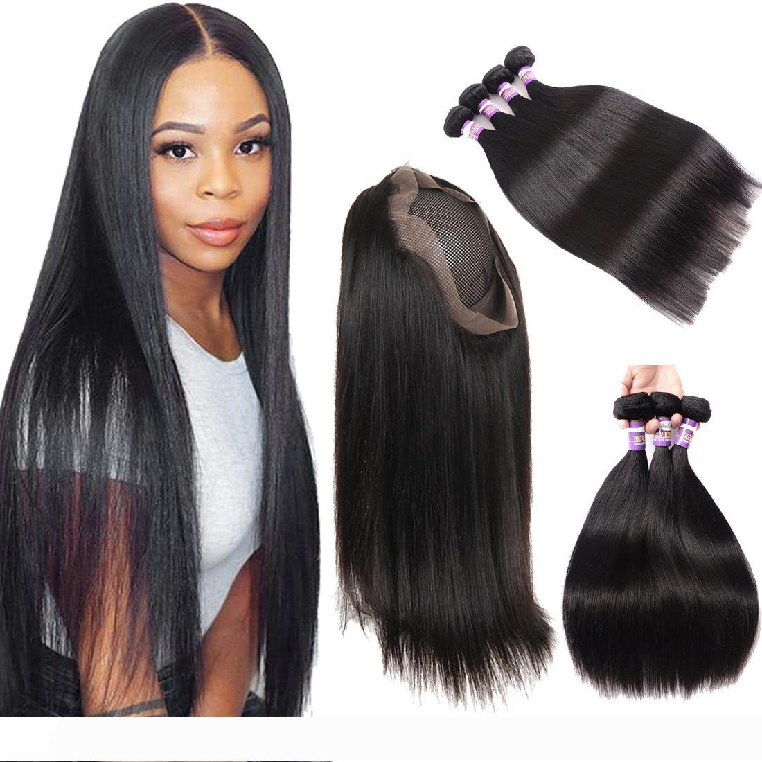 9A Brazilian Straight Human Hair Body Wave Hair Bundles With 360 Lace Frontal Closure 3 Bundles With 360 Lace Closure Human Hair Extensions