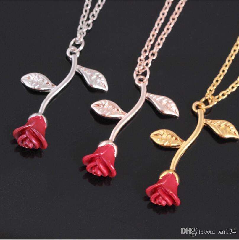 Colgante, collar de Europa y América Explosión Estilo Rose roja de oro lindo Planta rama de la flor de clavícula cadena de artículos