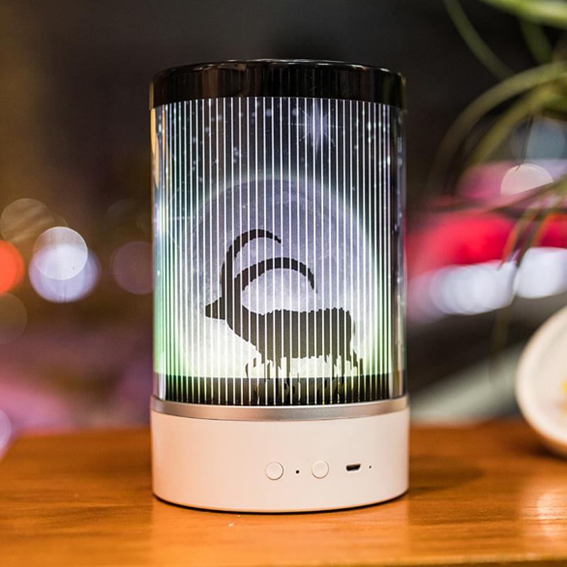 Animada USB luz de la noche Decoración multifuncional portátil dormitorio de noche Ambiente de proyección de la lámpara de control remoto LED lámpara de mesa