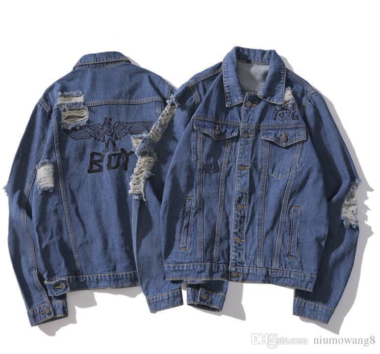 Designer brand BOY jacket tide brand retro hole denim jacket LOGO luxury sweatshirt classic fashion pullover hot high quality