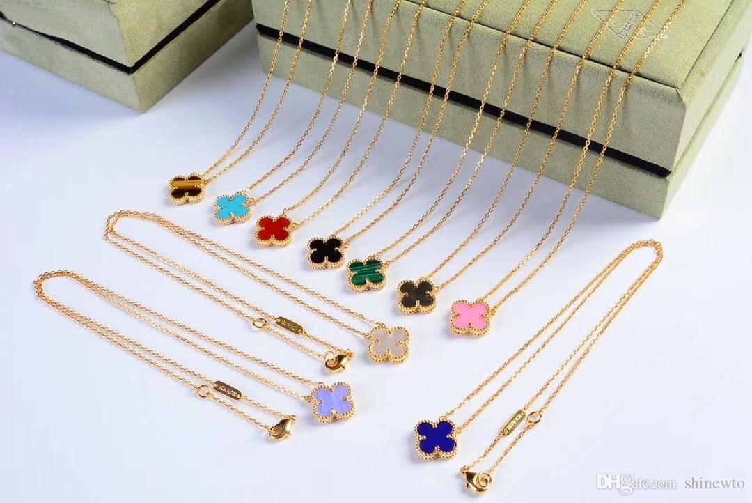 18K Gold Plated Vintage Black Onyx Agate Four Clover Flower Charm Drop Dangle Earrings