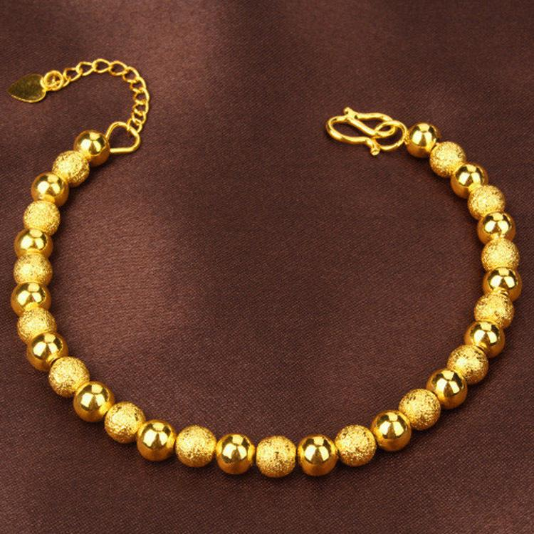 2019 نيو لاكي الخرز الكرة سوار 24K الحقيقية الصلبة الذهب الأصفر جولة الخرز بوتيك سلسلة أساور اليد مجوهرات القلب Tapestried بالجملة