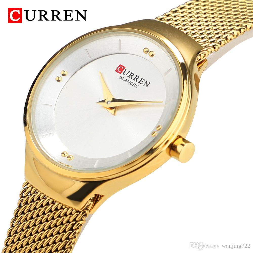 CURREN Female Watches Analog Clock Watch Fashion Gold Silver Ladies Dress Stainless Steel Quartz Wristwatch Montre Femme