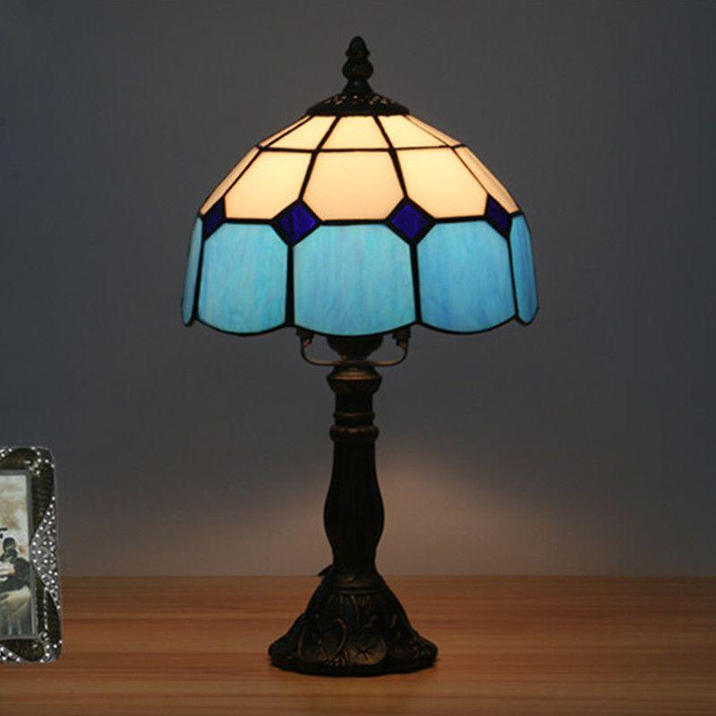 8 pouces Méditerranée Américaine Simple Chambre à coucher Lampe de chevet Salle de mariage Bar Restaurant Restaurant européen Rétro Fashion Creative Table Lampe