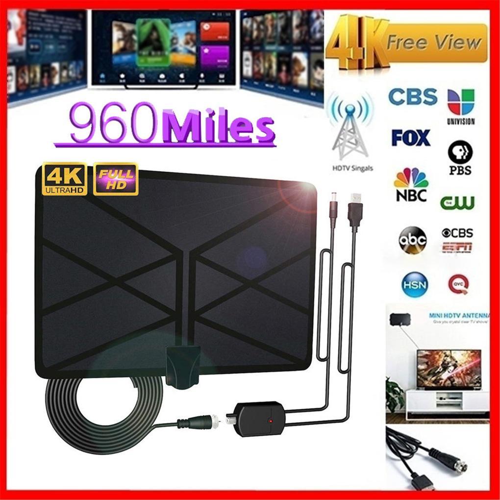 Antenne TV intérieure Amplified 960 Antenne HDTV numérique Miles Plage 4K HD 1080P DVB-T TV Amplificateur