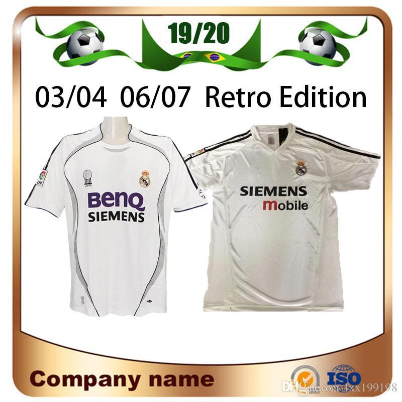 03/04 Retro Edition Real Madrid Futebol Jerseys 06/07 # 7 Raul # 9 Ronaldo # 23 Beckham Manga Curta Camisa de Futebol Uniformes