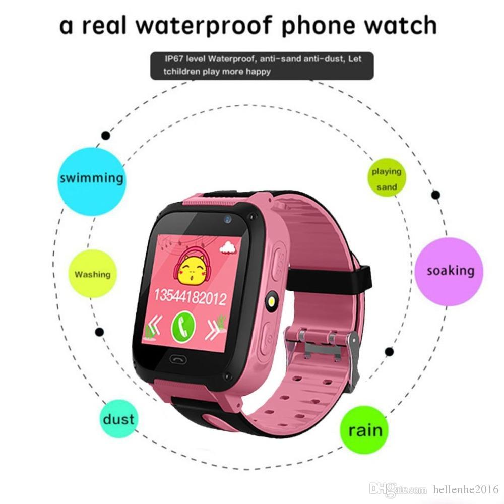 الاطفال جي بي آر إس الذكية ووتش ث / كاميرا بطاقة SIM لمكافحة خسر LBS لتحديد المواقع المنبه للماء ساعة ذكية الأطفال دعوة ووتش