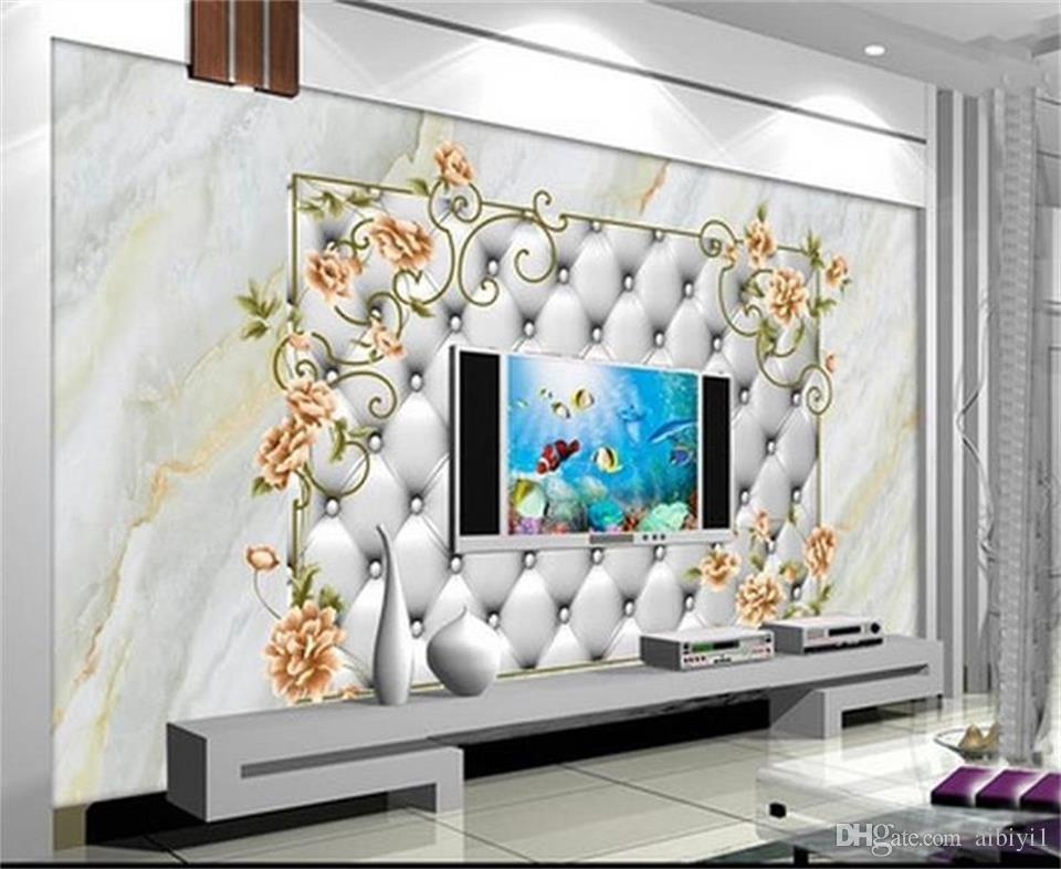 custom size 3d photo wallpaper living room bed room mural European pattern marble 3d picture sofa TV backdrop wallpaper non-woven sticker