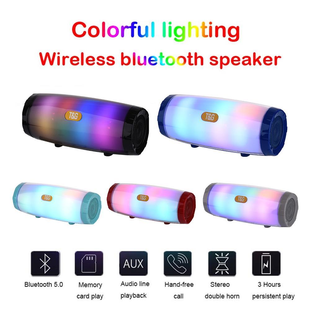 TG165 LED Light Flash Portable Wireless Bluetooth Speaker Support TF Card USB FM Radio Stereo Music Mp3 Players Column Subwoofer Speaker
