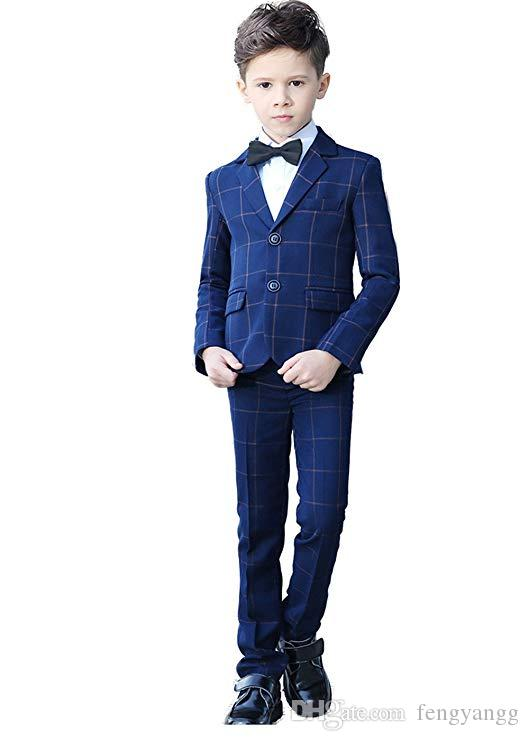 الأزياء يتأهل منقوشة الفتيان الدعاوى حقق التلبيب 5 أجزاء (سترة + بنطلون + سترة + قميص + ربطة الانحناءة) الاطفال البدلات الرسمية ل حدث الزفاف مخصص