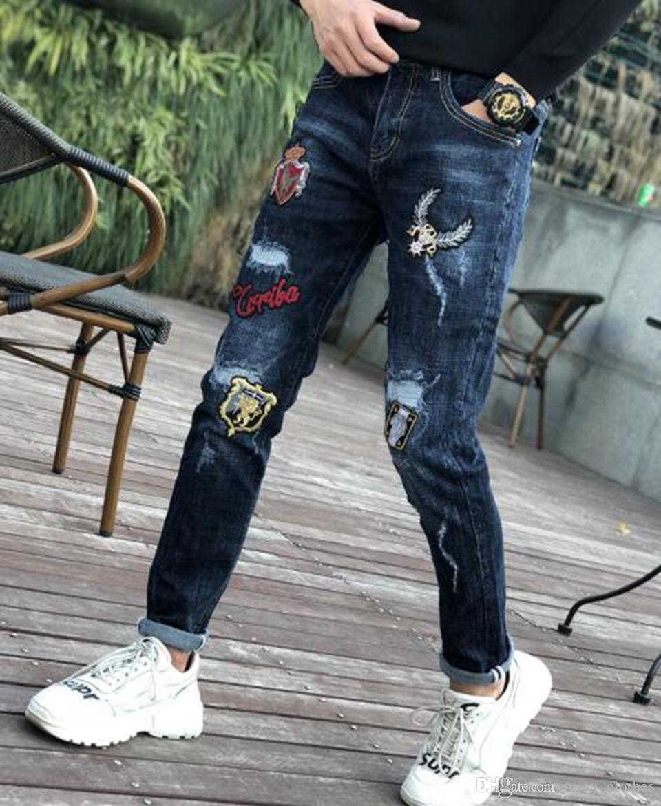 Men's Europe and the United States and South Korea version of the new personality slim hole embroidery cowboy small trousers / 29-36