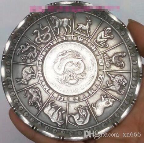 Old Chinese tibet silver Zodiac Animal statue money Ricchezza della moneta