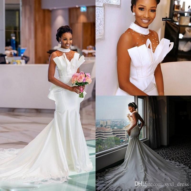 2019 Africain plus la taille des robes de mariage sirène robes de mariée robe de mariée Volants Trompette Robe de mariée robes de bal