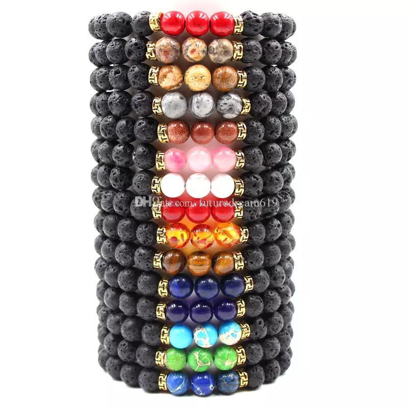 New Lava Rock Stone Beads Bracciale Chakra Charm Natural Stone Diffusore di olio essenziale perline Catena Per donna Uomo Fashion Artigianato Gioielli