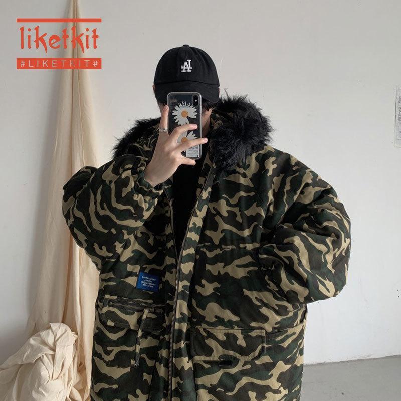 Мужские пуховики Parkas LikeTkit мужчины зимние куртки с капюшоном 2021 камуфляжная печать большой меховой воротник теплые толстые парку пальто мужской корейский повседневный на открытом воздухе
