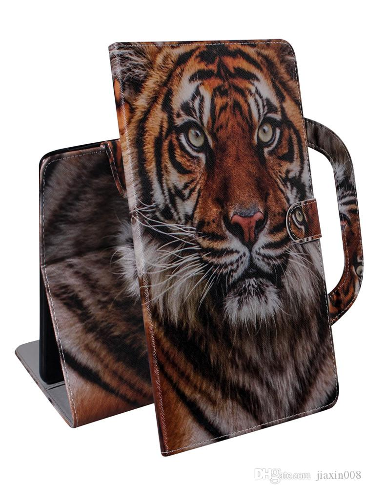 Tablet Case For iPad Mini (2019) Handle Flip Cover Stand Leather Wallet Coloured drawing Tiger Lion wolf For iPad Mini 12345