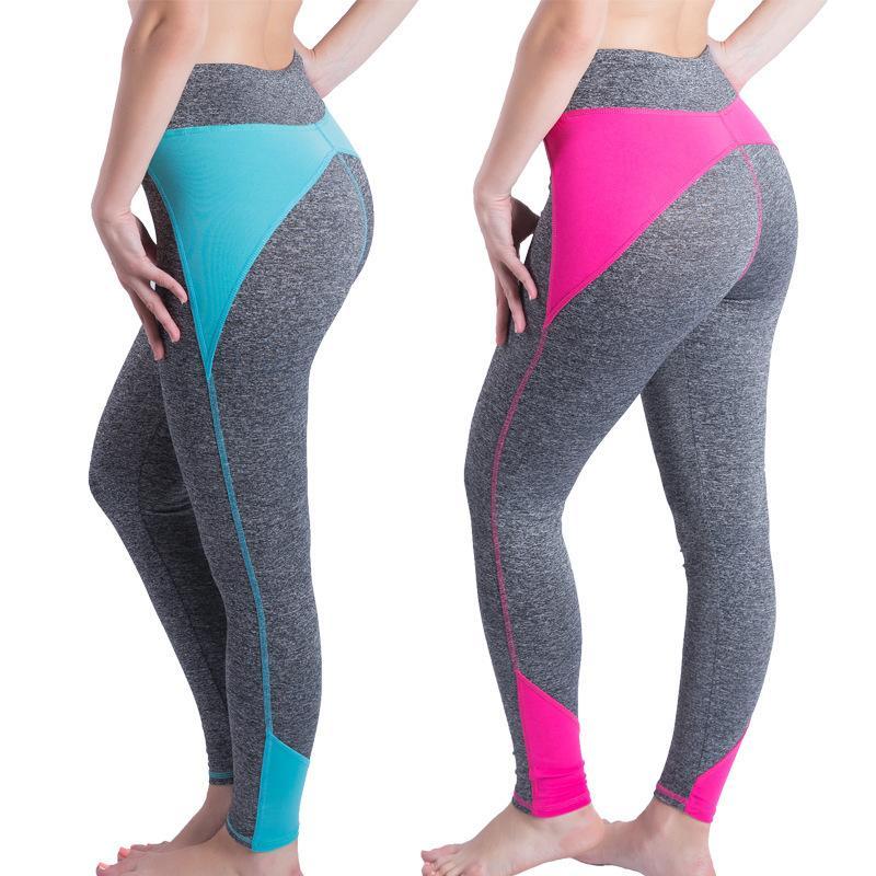 Ekleme Renk Yoga Pantolon Spor Nefes Sıkı Fit Hız Kuru Kalça Kaldırma Hit Külotlar Bayan Yazım Running