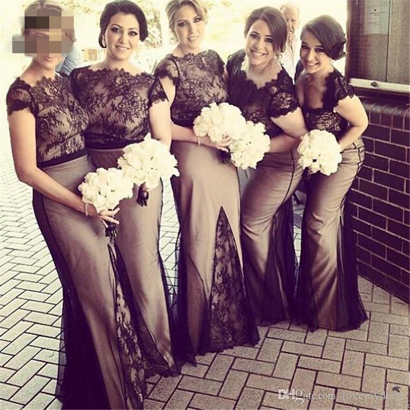 2020 noir et nue robes de demoiselle d'honneur sirène Bateau dentelle à manches courtes Robe Invité de mariage Fête formelle Robe de mariée Robes Domestique d'honneur