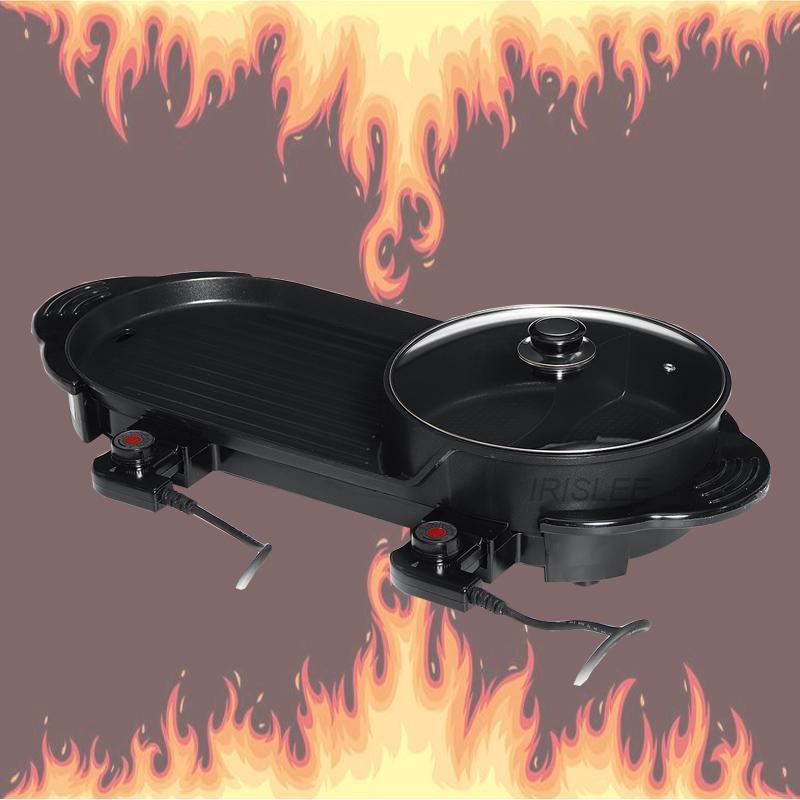 2en1 Hot Pot y Parrilla eléctrica cubierta plana Hornear Pan doble sabor Hotpot sin humo de la parrilla Barbacoa plana plancha huevo antiadherente