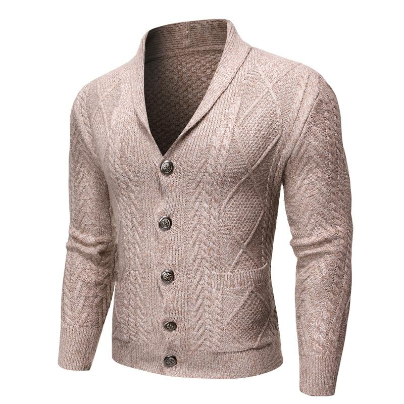 Maglione Uomo Nuovo modo di colore solido uomini di alta qualità Cappotto Cardigan Pocket maglione 3 colori M-2XL di trasporto