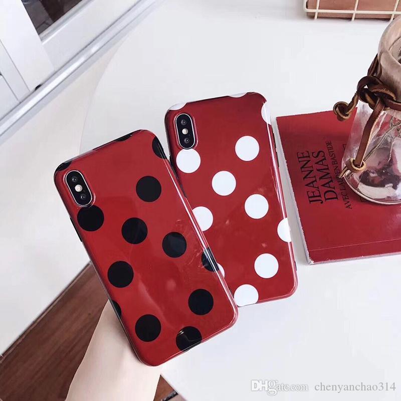 Винтажный винный красный чехол для iphone 6S чехол для X 6 7 8 плюс мягкий IMD гладкая мода волна точка